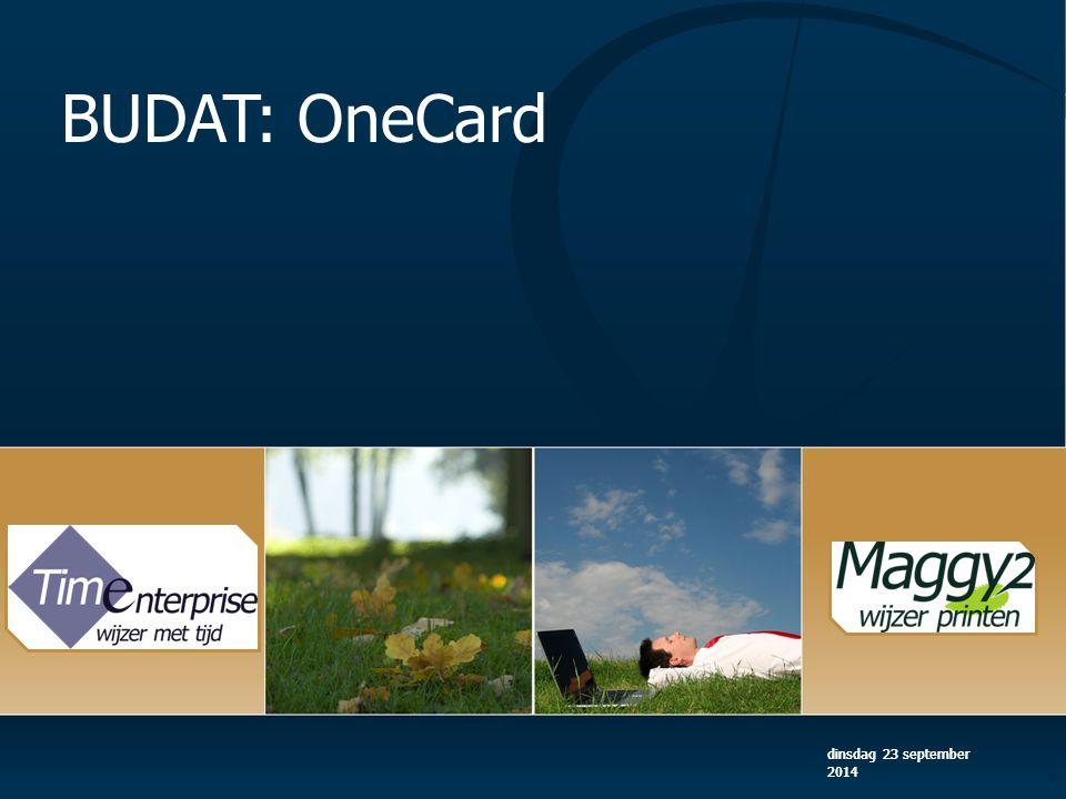 BUDAT: OneCard woensdag 5 april 2017 woensdag 5 april 2017