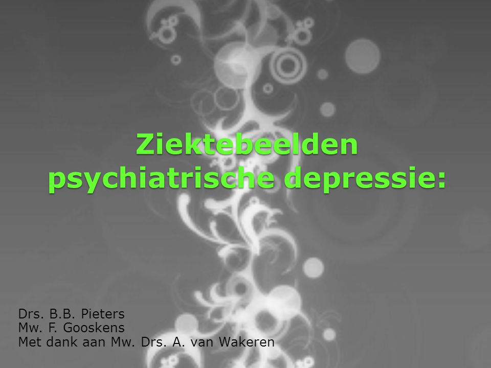 Ziektebeelden psychiatrische depressie: