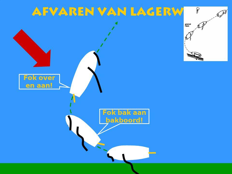 Afvaren van lagerwal Fok over en aan! Fok bak aan bakboord!