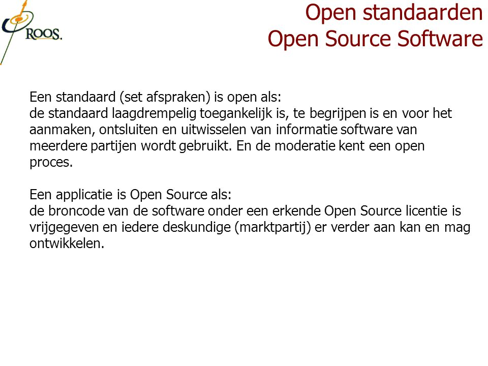Open standaarden Open Source Software
