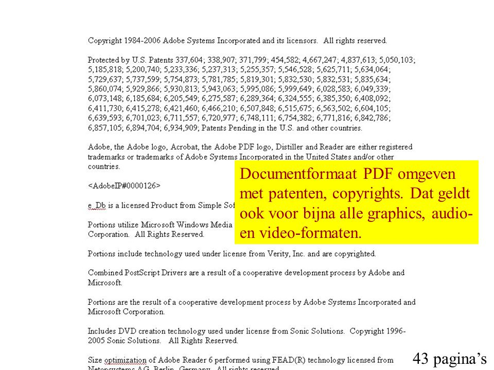 Documentformaat PDF omgeven met patenten, copyrights