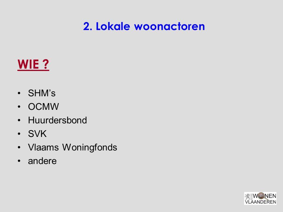 WIE 2. Lokale woonactoren SHM's OCMW Huurdersbond SVK