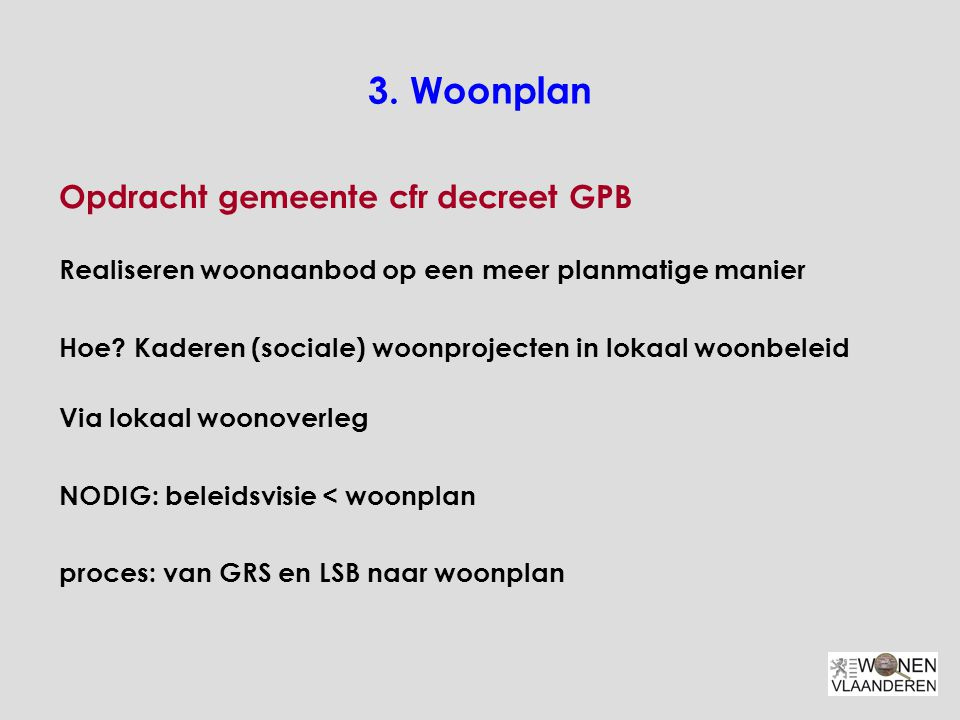 3. Woonplan Opdracht gemeente cfr decreet GPB