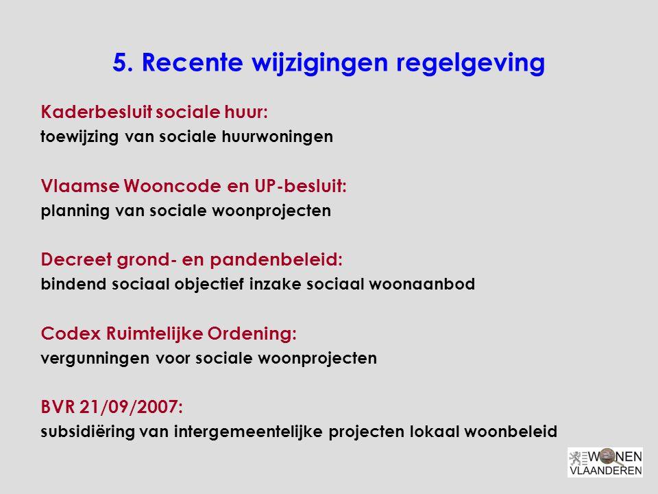 5. Recente wijzigingen regelgeving