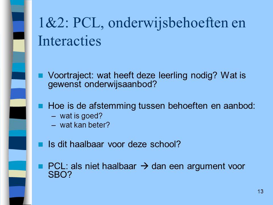 1&2: PCL, onderwijsbehoeften en Interacties
