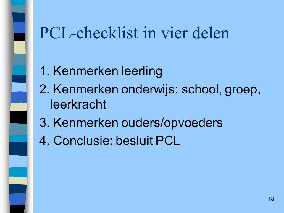 PCL-checklist in vier delen