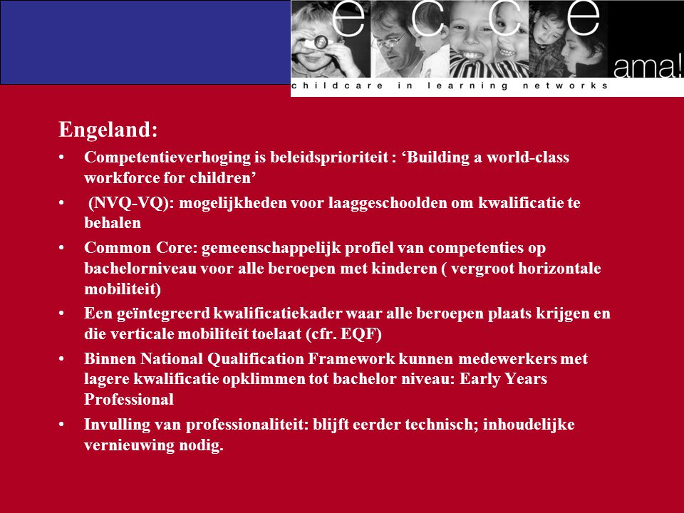 Engeland: Competentieverhoging is beleidsprioriteit : 'Building a world-class workforce for children'
