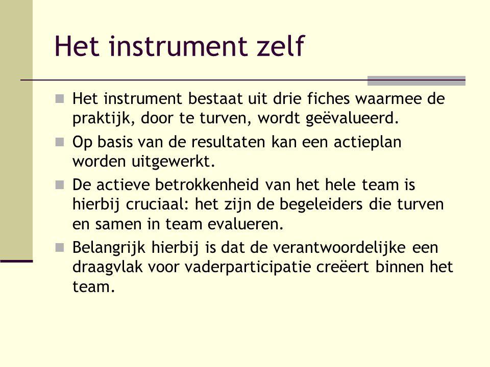 Het instrument zelf Het instrument bestaat uit drie fiches waarmee de praktijk, door te turven, wordt geëvalueerd.