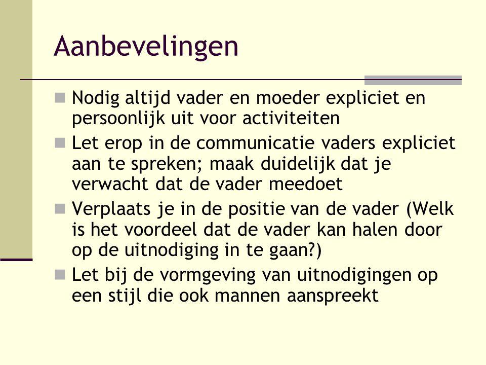 Aanbevelingen Nodig altijd vader en moeder expliciet en persoonlijk uit voor activiteiten.