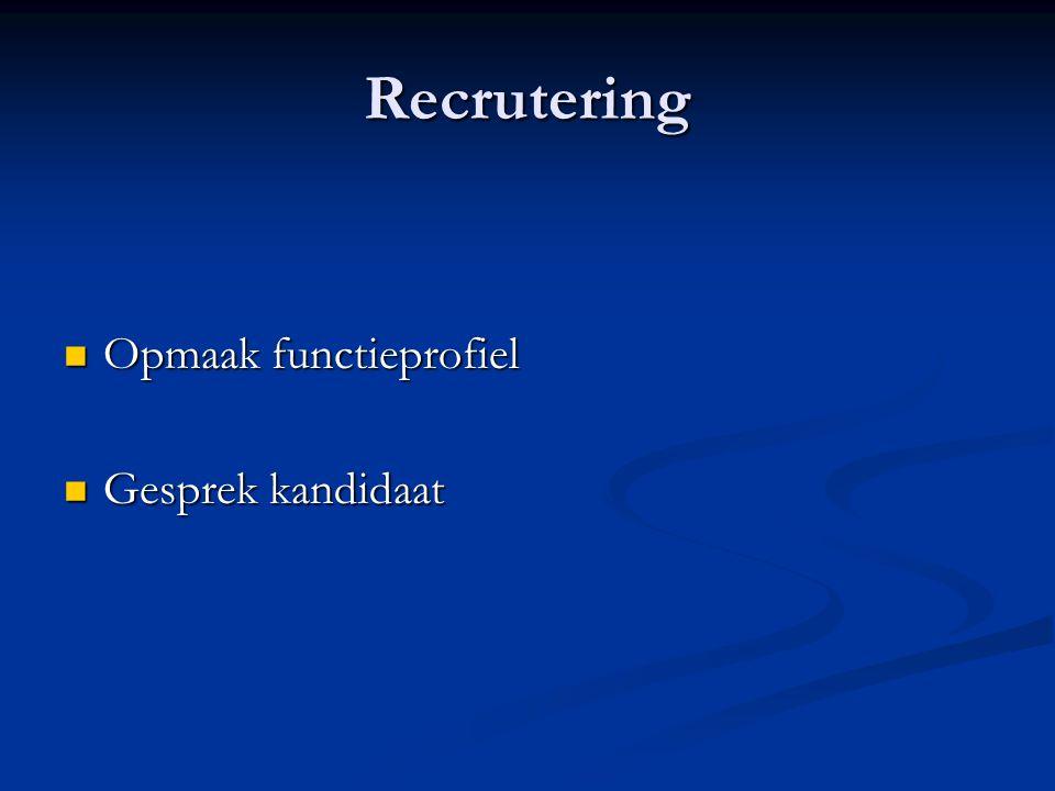 Recrutering Opmaak functieprofiel Gesprek kandidaat