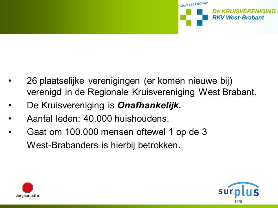 26 plaatselijke verenigingen (er komen nieuwe bij) verenigd in de Regionale Kruisvereniging West Brabant.