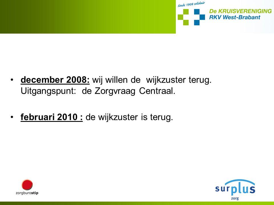 december 2008: wij willen de wijkzuster terug