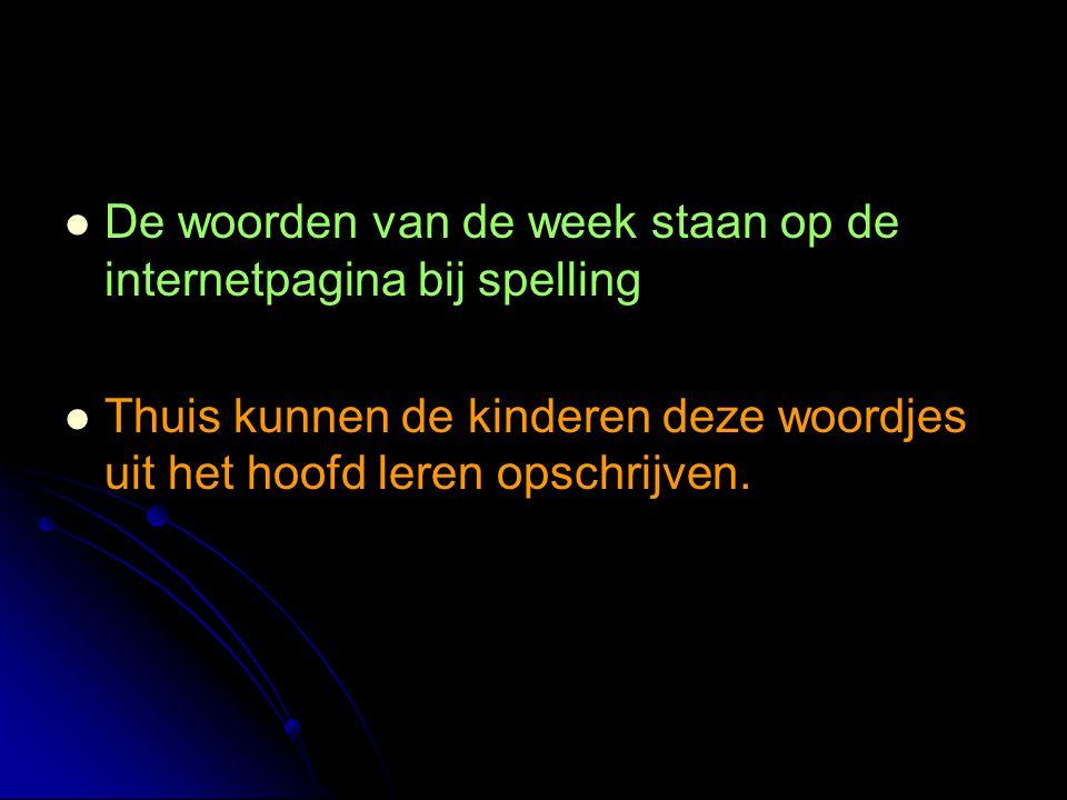 De woorden van de week staan op de internetpagina bij spelling