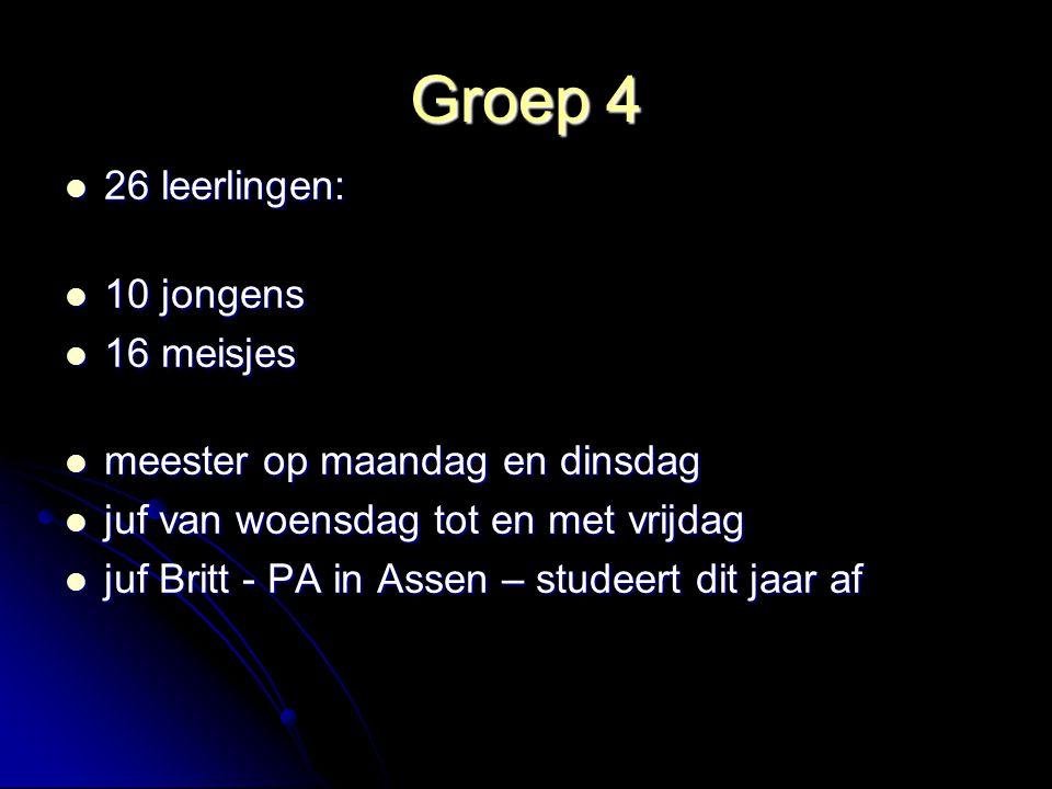 Groep 4 26 leerlingen: 10 jongens 16 meisjes