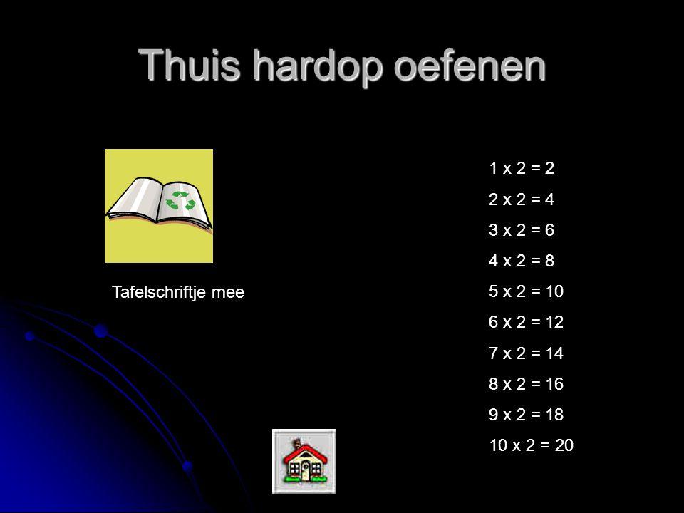 Thuis hardop oefenen 1 x 2 = 2 2 x 2 = 4 3 x 2 = 6 4 x 2 = 8