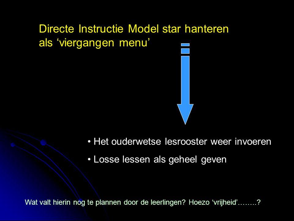 Directe Instructie Model star hanteren als 'viergangen menu'