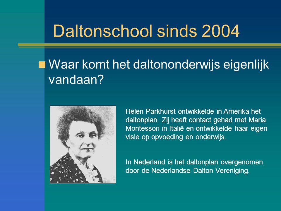 Daltonschool sinds 2004 Waar komt het daltononderwijs eigenlijk vandaan