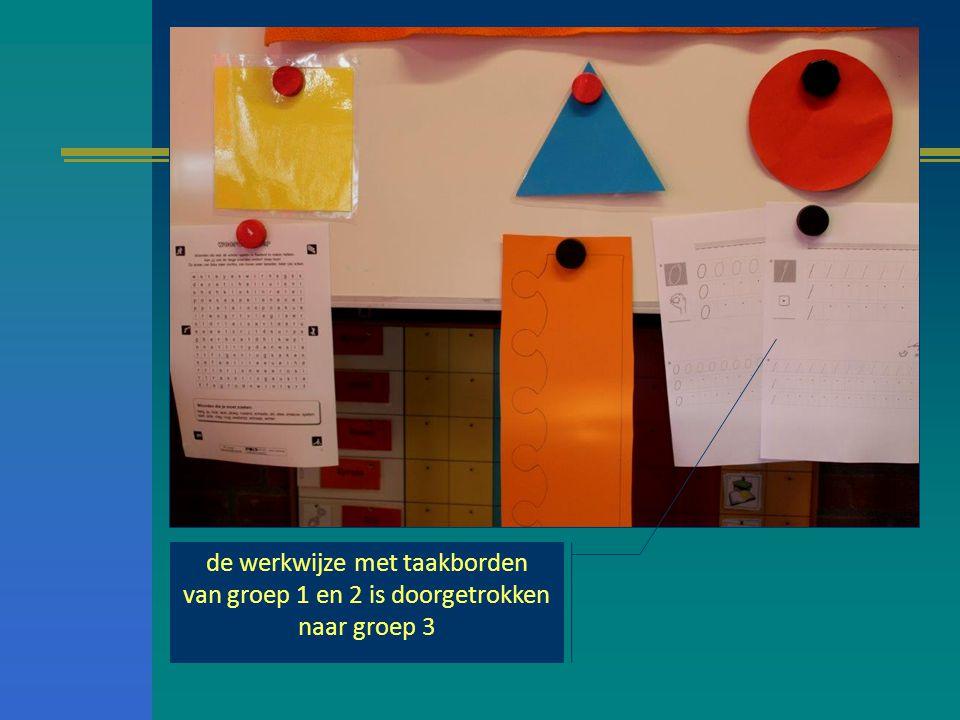 de werkwijze met taakborden van groep 1 en 2 is doorgetrokken naar groep 3