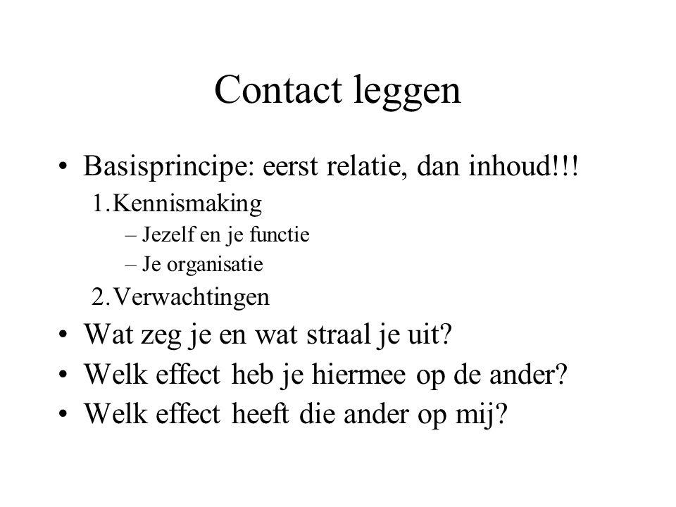 Contact leggen Basisprincipe: eerst relatie, dan inhoud!!!