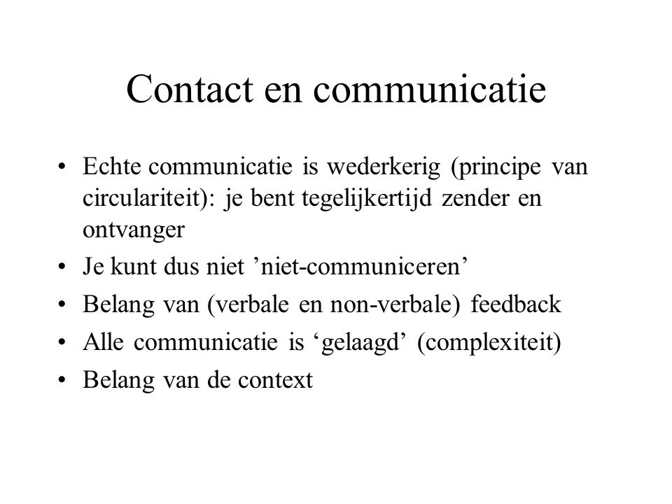 Contact en communicatie