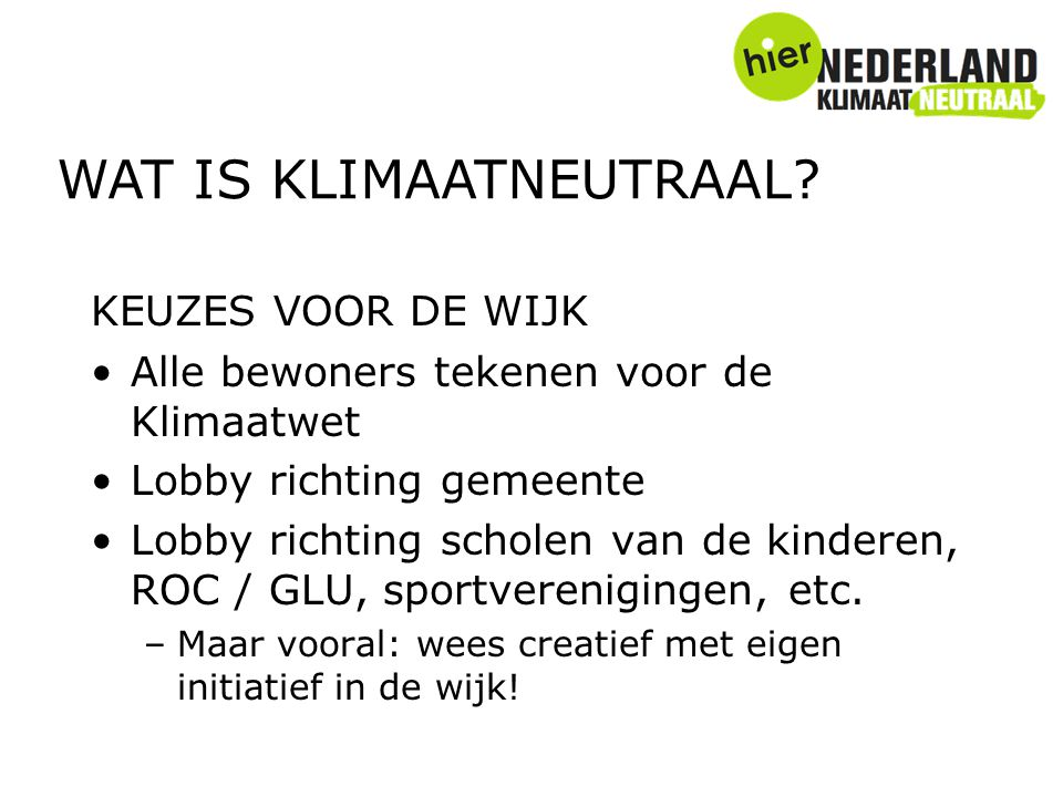 WAT IS KLIMAATNEUTRAAL