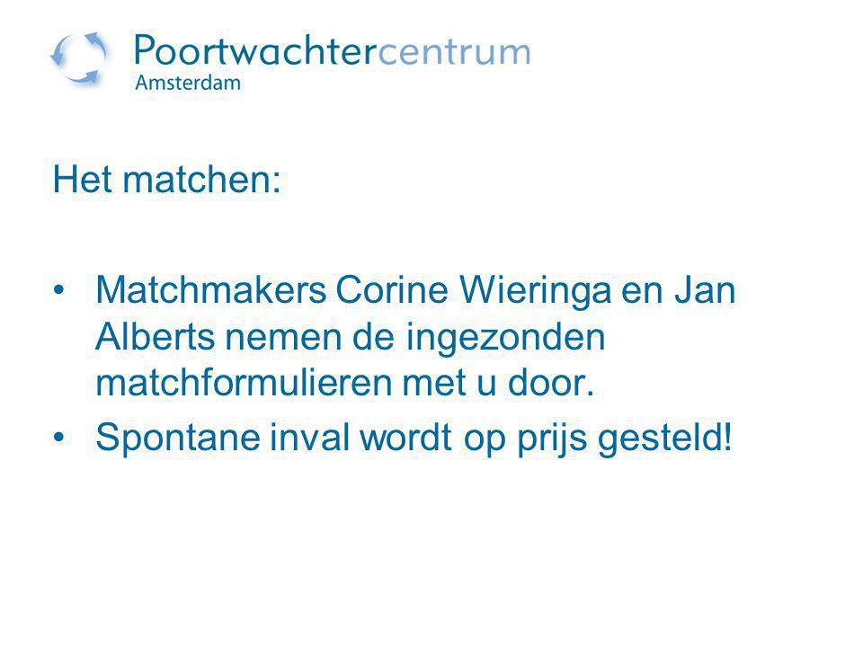 Het matchen: Matchmakers Corine Wieringa en Jan Alberts nemen de ingezonden matchformulieren met u door.