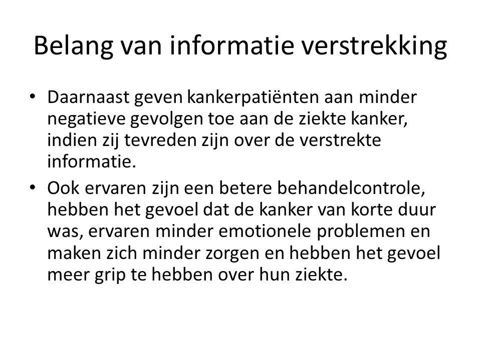 Belang van informatie verstrekking