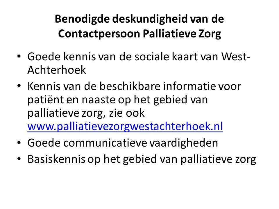 Benodigde deskundigheid van de Contactpersoon Palliatieve Zorg