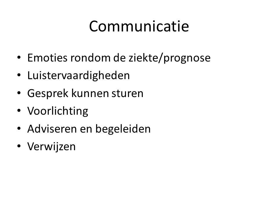 Communicatie Emoties rondom de ziekte/prognose Luistervaardigheden