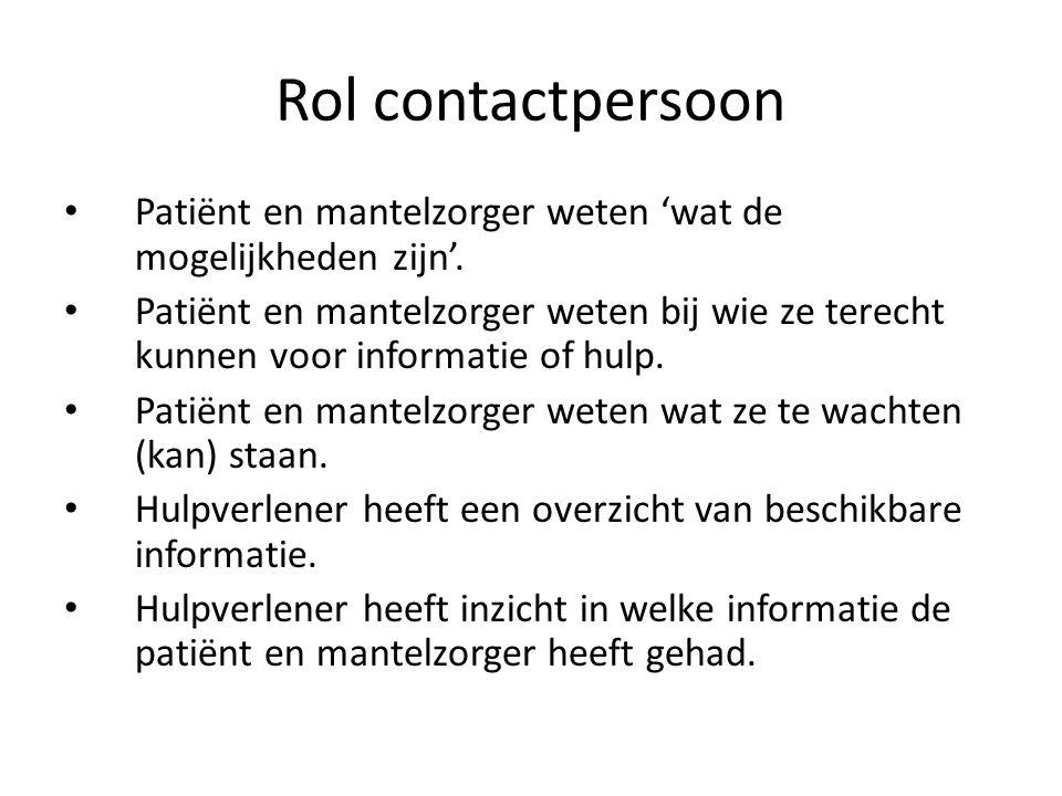 Rol contactpersoon Patiënt en mantelzorger weten 'wat de mogelijkheden zijn'.