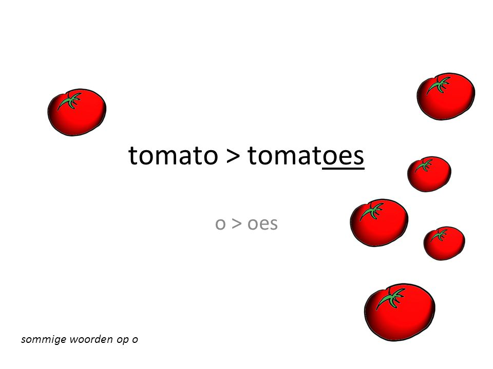 tomato > tomatoes o > oes sommige woorden op o