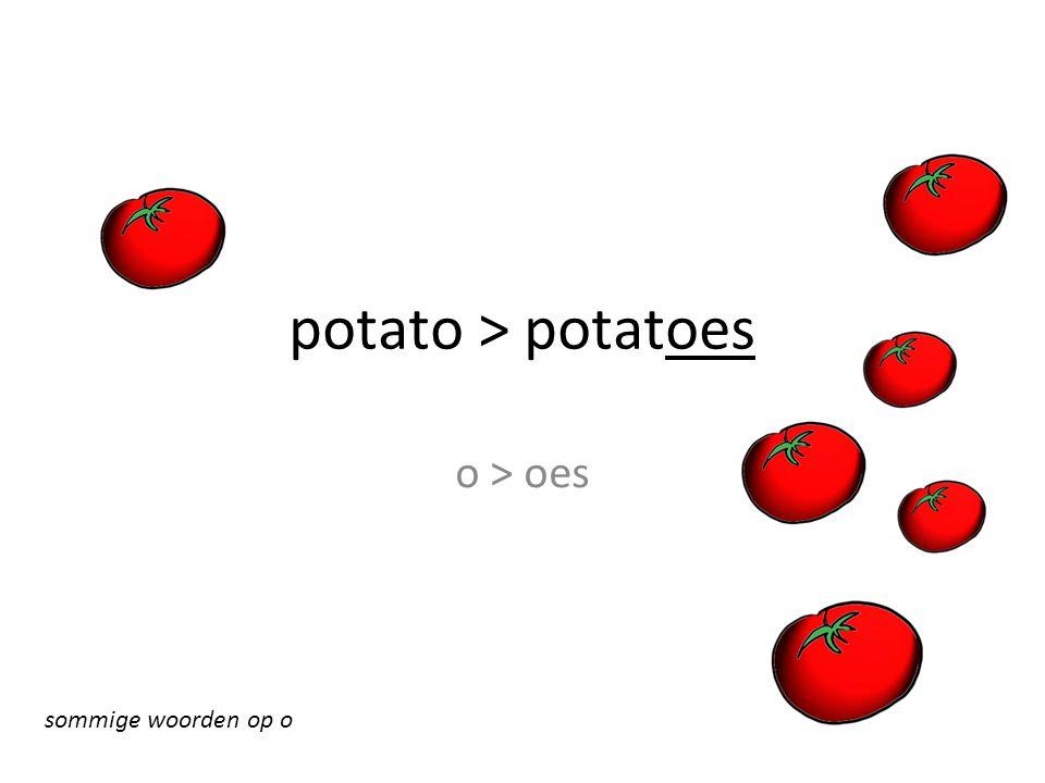 potato > potatoes o > oes sommige woorden op o