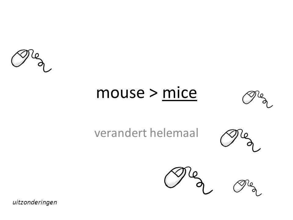 mouse > mice verandert helemaal uitzonderingen