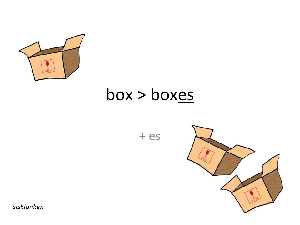 box > boxes + es sisklanken