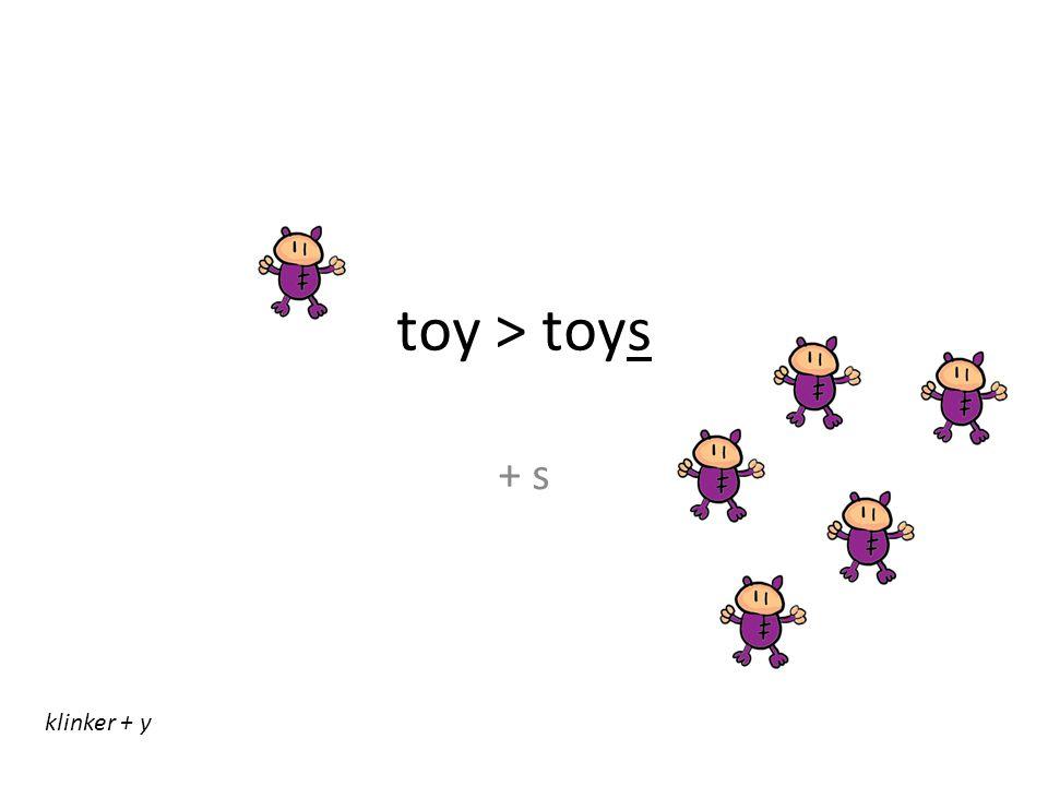 toy > toys + s klinker + y