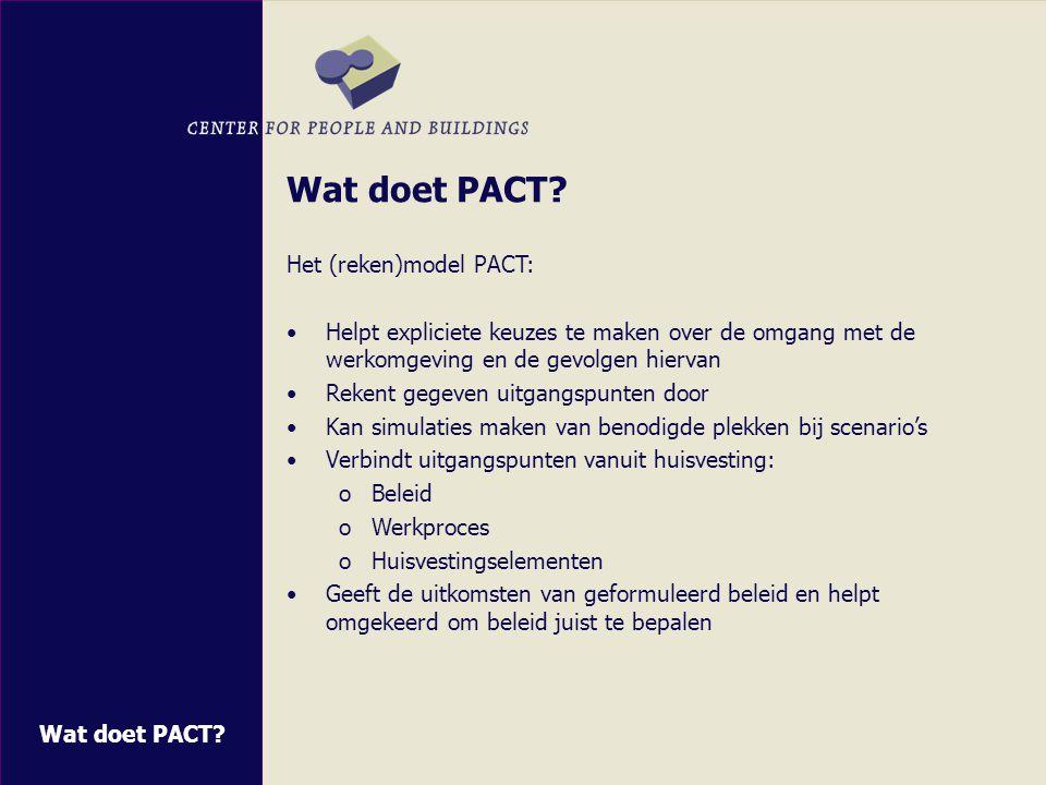 Wat doet PACT Het (reken)model PACT: