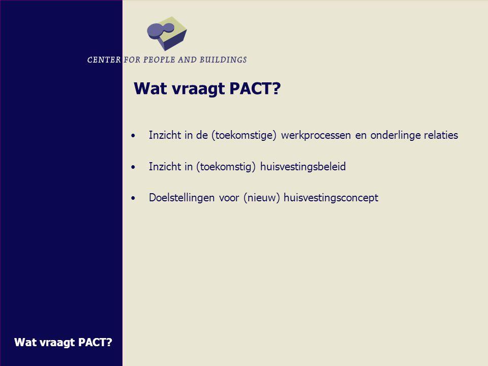 Wat vraagt PACT Inzicht in de (toekomstige) werkprocessen en onderlinge relaties. Inzicht in (toekomstig) huisvestingsbeleid.