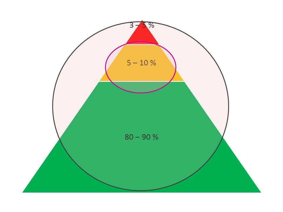3 – 5 % 5 – 10 % 80 – 90 % AP beslaat in feite het hele onderwijsveld