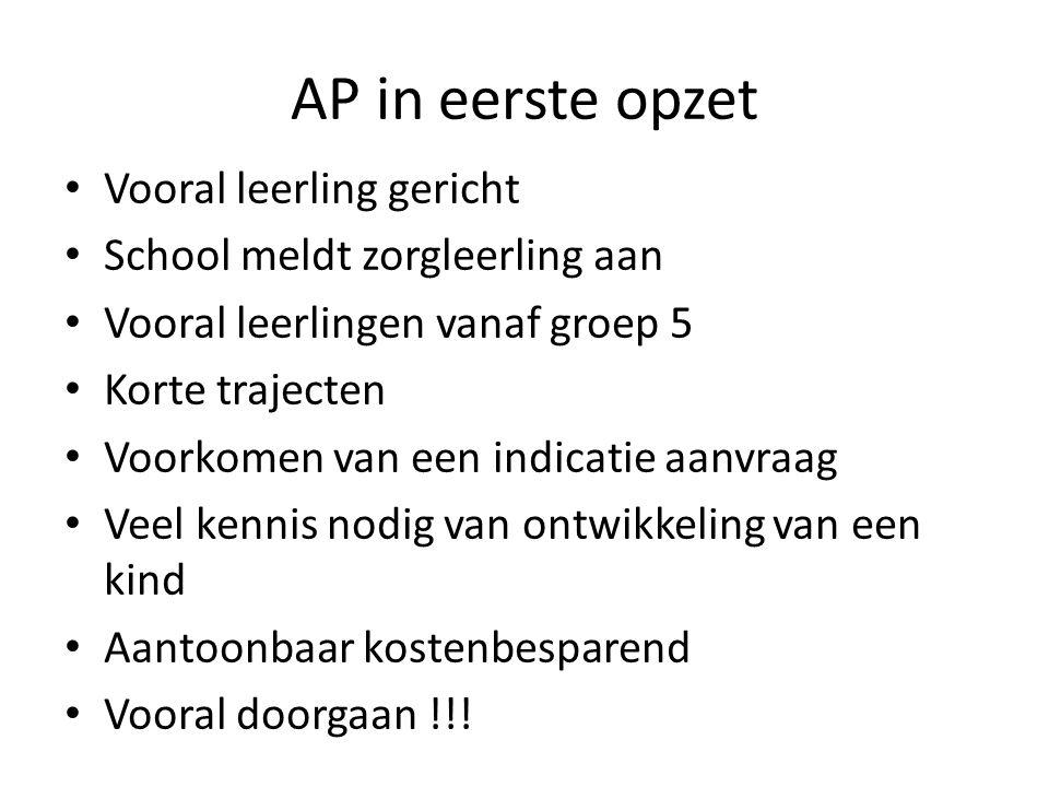 AP in eerste opzet Vooral leerling gericht