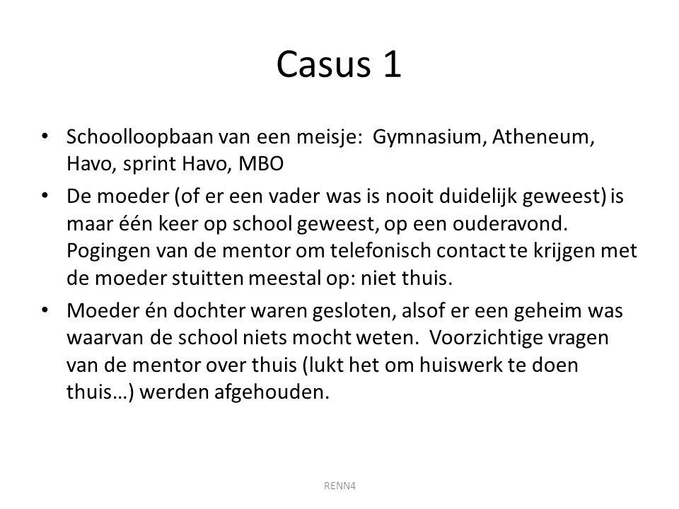 Casus 1 Schoolloopbaan van een meisje: Gymnasium, Atheneum, Havo, sprint Havo, MBO.