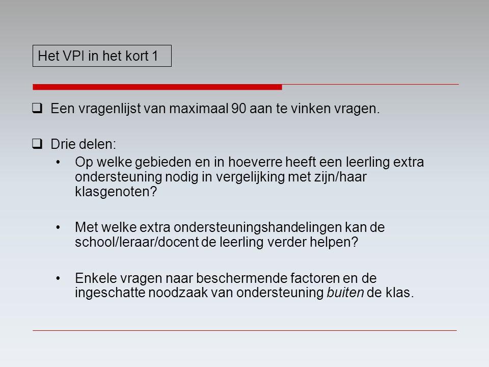 Het VPI in het kort 1 Een vragenlijst van maximaal 90 aan te vinken vragen. Drie delen: