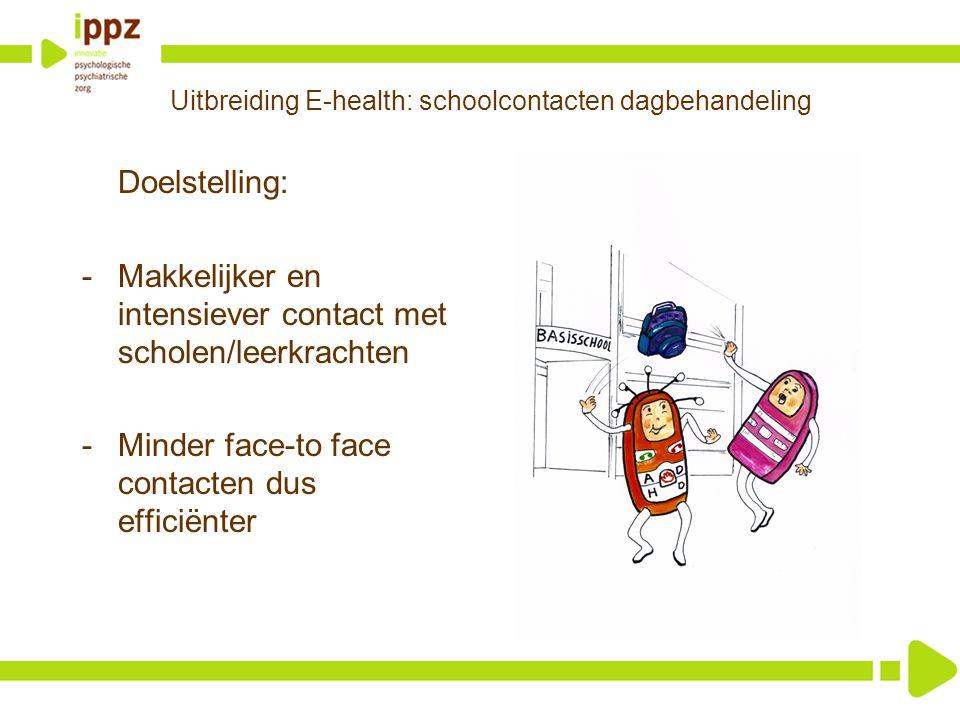 Uitbreiding E-health: schoolcontacten dagbehandeling