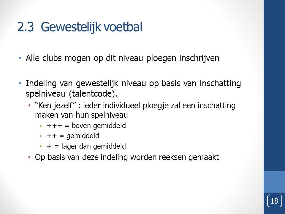 2.3 Gewestelijk voetbal Alle clubs mogen op dit niveau ploegen inschrijven.