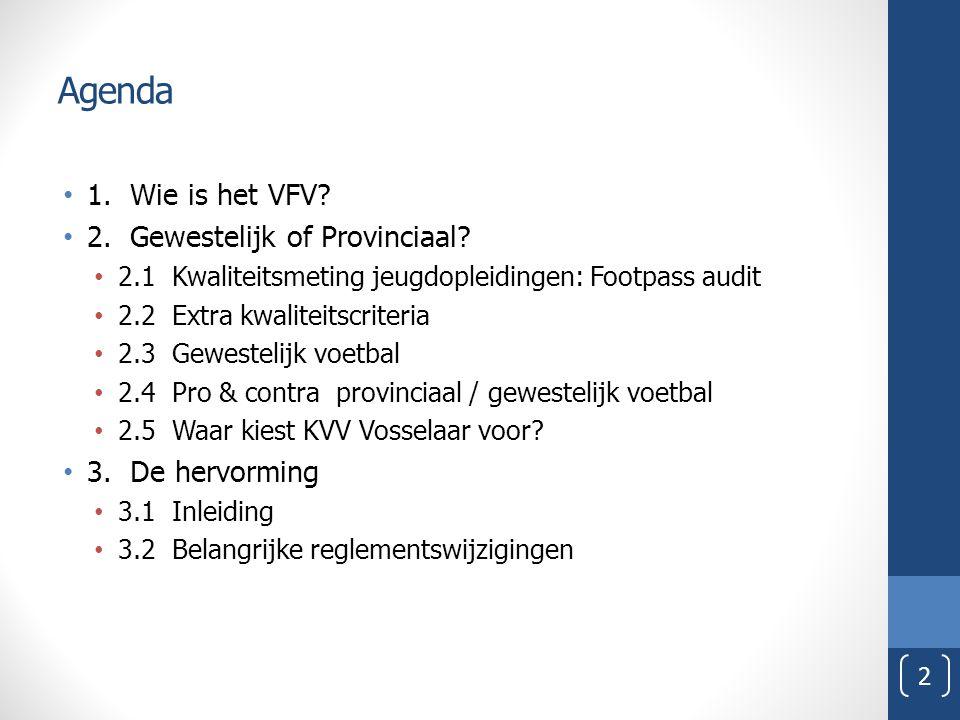 Agenda 1. Wie is het VFV 2. Gewestelijk of Provinciaal