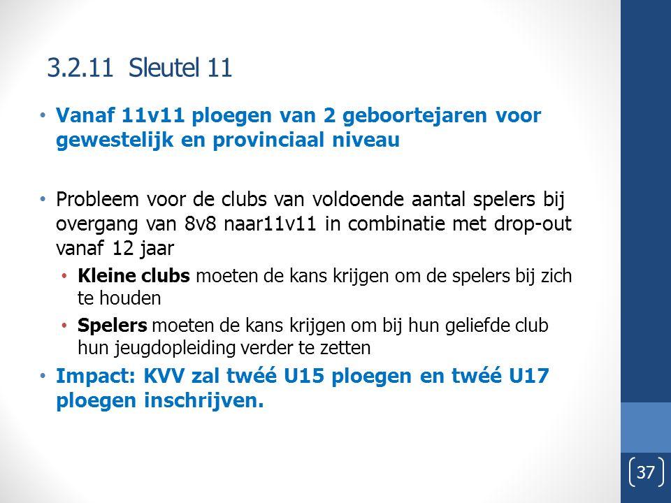 3.2.11 Sleutel 11 Vanaf 11v11 ploegen van 2 geboortejaren voor gewestelijk en provinciaal niveau.