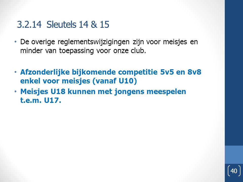 3.2.14 Sleutels 14 & 15 De overige reglementswijzigingen zijn voor meisjes en minder van toepassing voor onze club.