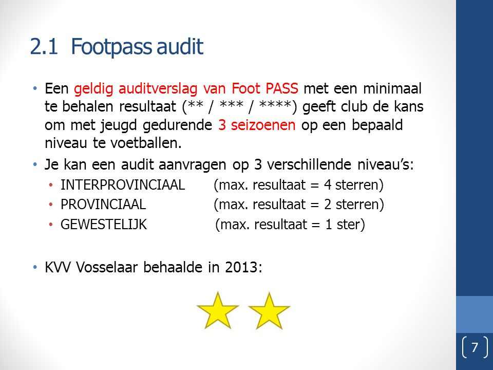 2.1 Footpass audit