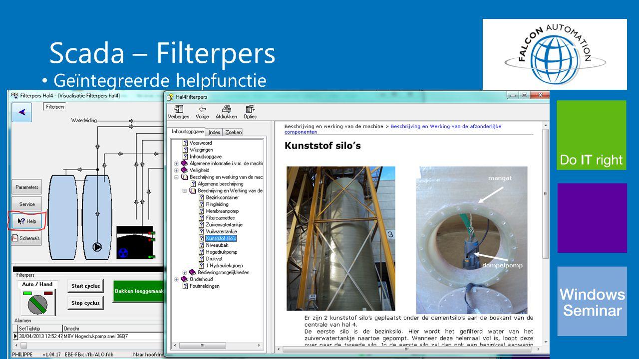Scada – Filterpers Geïntegreerde helpfunctie