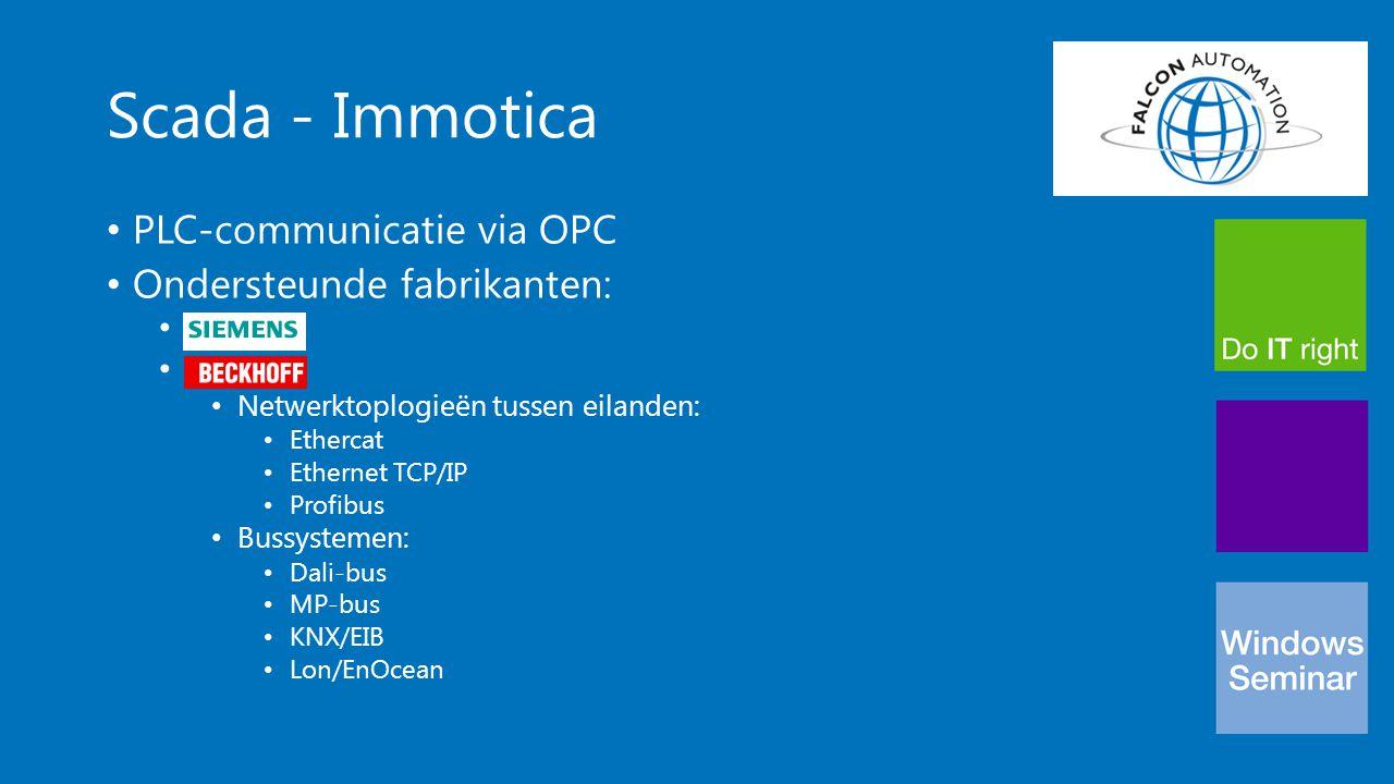 Scada - Immotica PLC-communicatie via OPC Ondersteunde fabrikanten:
