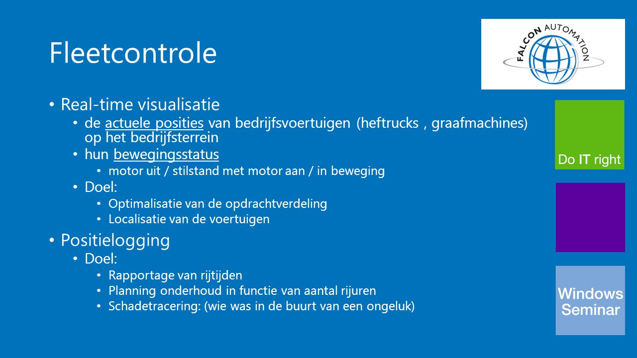 Fleetcontrole Real-time visualisatie Positielogging